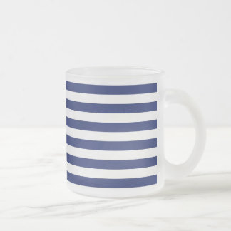 Navy Blue and White Stripe Pattern Frosted Glass Coffee Mug
