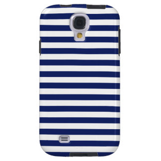 Navy Blue and White Stripe Pattern Galaxy S4 Case