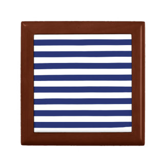Navy Blue and White Stripe Pattern Gift Box