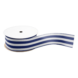 Navy Blue and White Stripe Pattern Grosgrain Ribbon