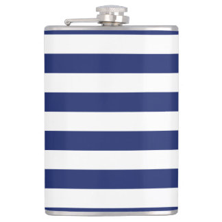 Navy Blue and White Stripe Pattern Hip Flask