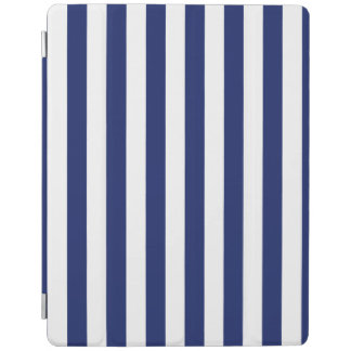 Navy Blue and White Stripe Pattern iPad Cover
