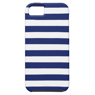 Navy Blue and White Stripe Pattern iPhone 5 Cover