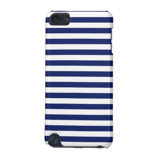 Navy Blue and White Stripe Pattern iPod Touch 5G Cases