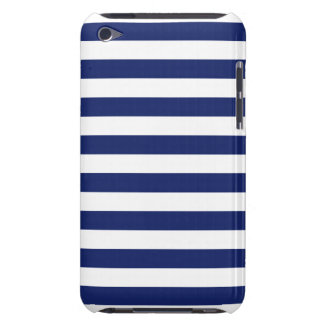 Navy Blue and White Stripe Pattern iPod Touch Case