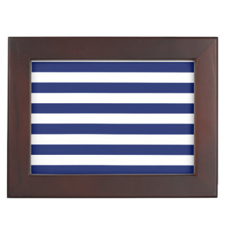 Navy Blue and White Stripe Pattern Keepsake Box