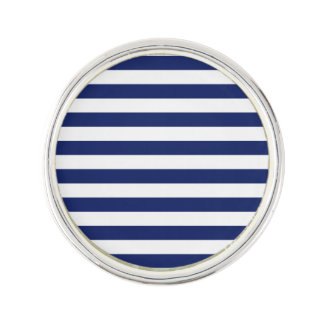 Navy Blue and White Stripe Pattern Lapel Pin