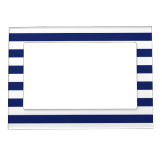 Navy Blue and White Stripe Pattern Magnetic Picture Frame