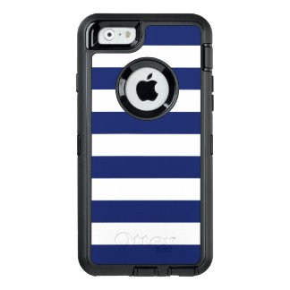 Navy Blue and White Stripe Pattern OtterBox Defender iPhone Case