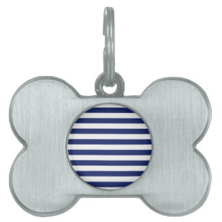Navy Blue and White Stripe Pattern Pet ID Tag