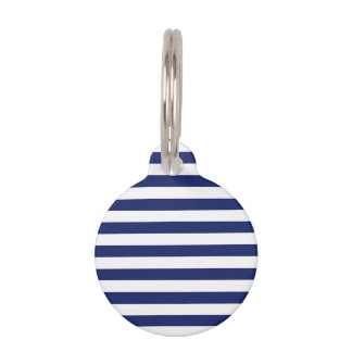 Navy Blue and White Stripe Pattern Pet Tag