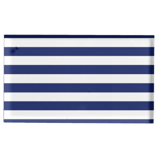 Navy Blue and White Stripe Pattern Place Card Holder