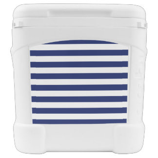 Navy Blue and White Stripe Pattern Rolling Cooler