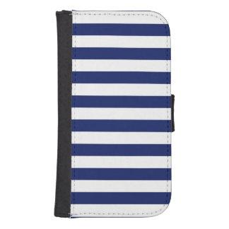 Navy Blue and White Stripe Pattern Samsung S4 Wallet Case