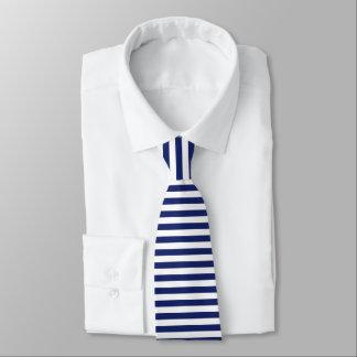 Navy Blue and White Stripe Pattern Tie