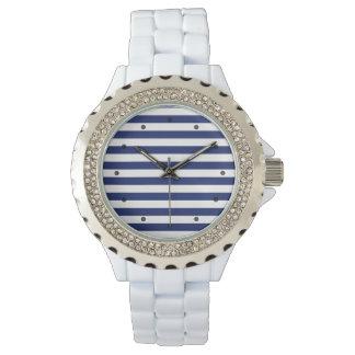 Navy Blue and White Stripe Pattern Watch