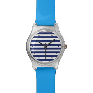 Navy Blue and White Stripe Pattern Watches