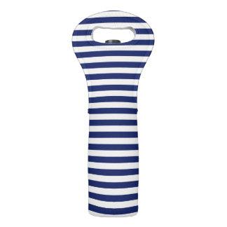 Navy Blue and White Stripe Pattern Wine Bag