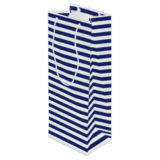 Navy Blue and White Stripe Pattern Wine Gift Bag