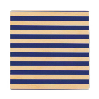 Navy Blue and White Stripe Pattern Wood Coaster