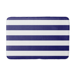 Navy Blue and White Striped Bath Mat