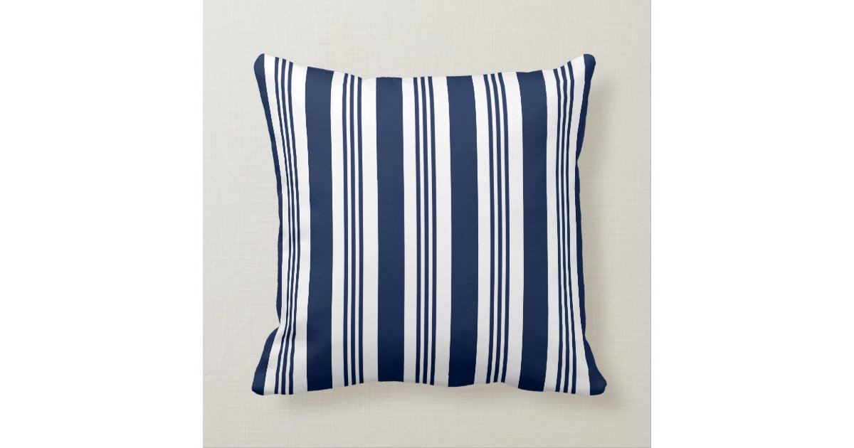 Navy And White Striped Throw Pillow : Navy Blue and White Striped Nautical Throw Pillow Zazzle