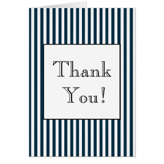 Navy Blue and White Striped Thank You Note Card