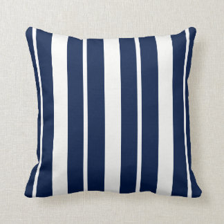 Navy Blue and White Striped ThrowPillow