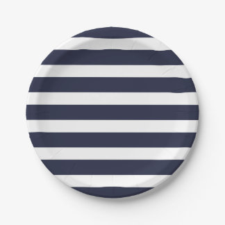 Navy Blue and White Stripes 7 Inch Paper Plate