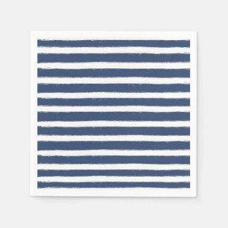 Navy Blue and White Stripes Paper Napkin