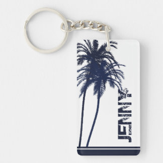 Navy Blue and White Tropical Palm Tree Double-Sided Rectangular Acrylic Key Ring