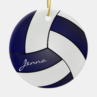 Navy Blue and White Volleyball | DIY Name Ceramic Ornament