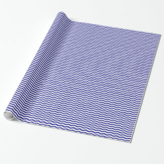 Navy Blue and White Wavy Stripes Wrapping Paper