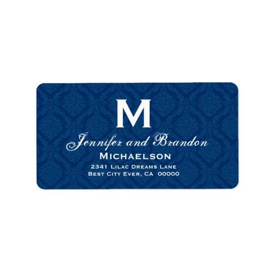 Navy Blue and White Wedding Monogram Personalised Label
