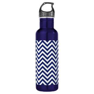 Navy Blue and White Zigzag Stripes Chevron Pattern 710 Ml Water Bottle