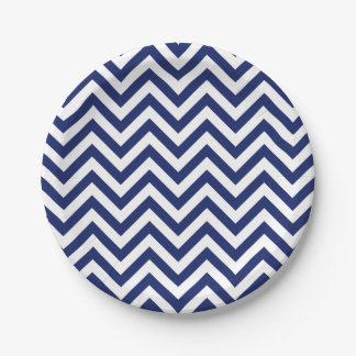 Navy Blue and White Zigzag Stripes Chevron Pattern 7 Inch Paper Plate