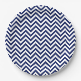 Navy Blue and White Zigzag Stripes Chevron Pattern 9 Inch Paper Plate
