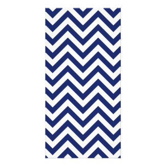 Navy Blue and White Zigzag Stripes Chevron Pattern Card