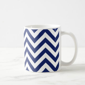 Navy Blue and White Zigzag Stripes Chevron Pattern Coffee Mug