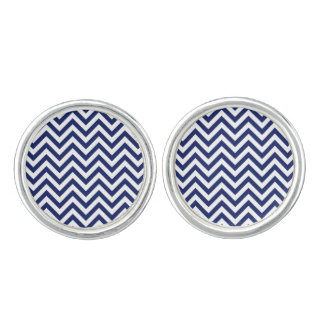 Navy Blue and White Zigzag Stripes Chevron Pattern Cufflinks