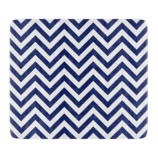 Navy Blue and White Zigzag Stripes Chevron Pattern Cutting Board