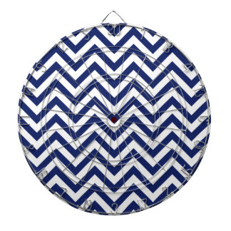 Navy Blue and White Zigzag Stripes Chevron Pattern Dartboard