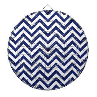 Navy Blue and White Zigzag Stripes Chevron Pattern Dartboards