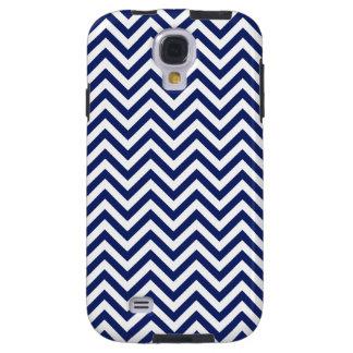 Navy Blue and White Zigzag Stripes Chevron Pattern Galaxy S4 Case