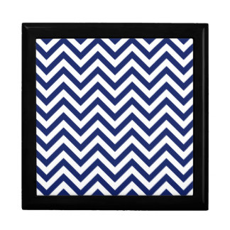 Navy Blue and White Zigzag Stripes Chevron Pattern Gift Box