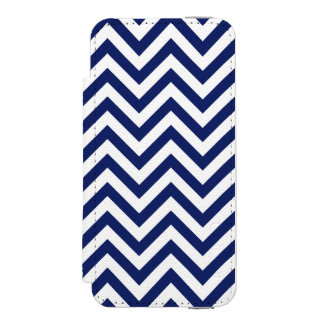 Navy Blue and White Zigzag Stripes Chevron Pattern Incipio Watson™ iPhone 5 Wallet Case