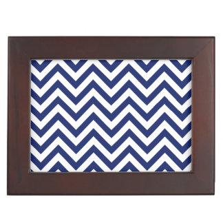 Navy Blue and White Zigzag Stripes Chevron Pattern Keepsake Box