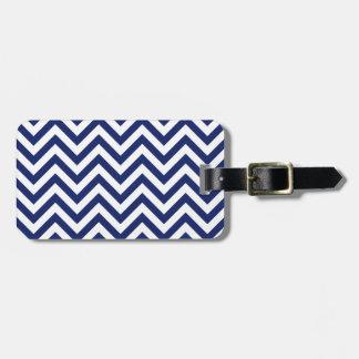 Navy Blue and White Zigzag Stripes Chevron Pattern Luggage Tag