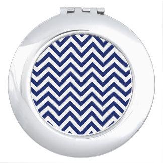 Navy Blue and White Zigzag Stripes Chevron Pattern Makeup Mirrors