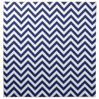 Navy Blue and White Zigzag Stripes Chevron Pattern Napkin